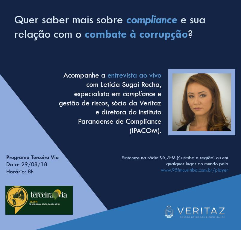 Chamada para entrevista ao vivo de compliance e anticorrupção na rádio 95,7FM por Letícia Sugai