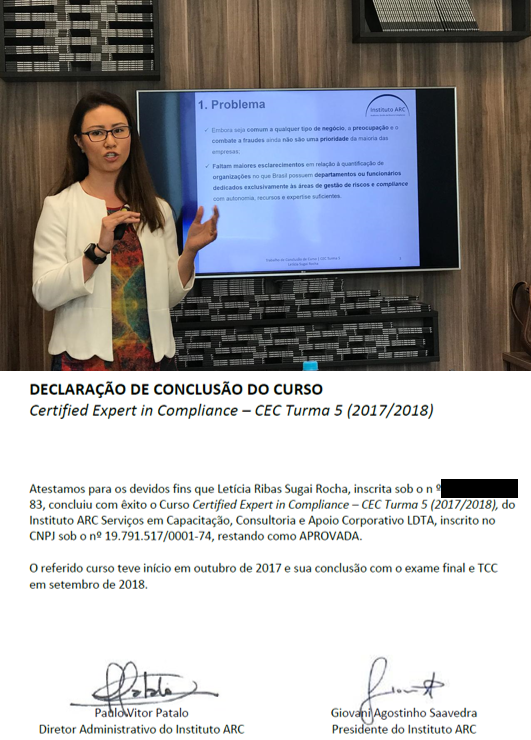 Letícia Sugai agora é certified expert in compliance