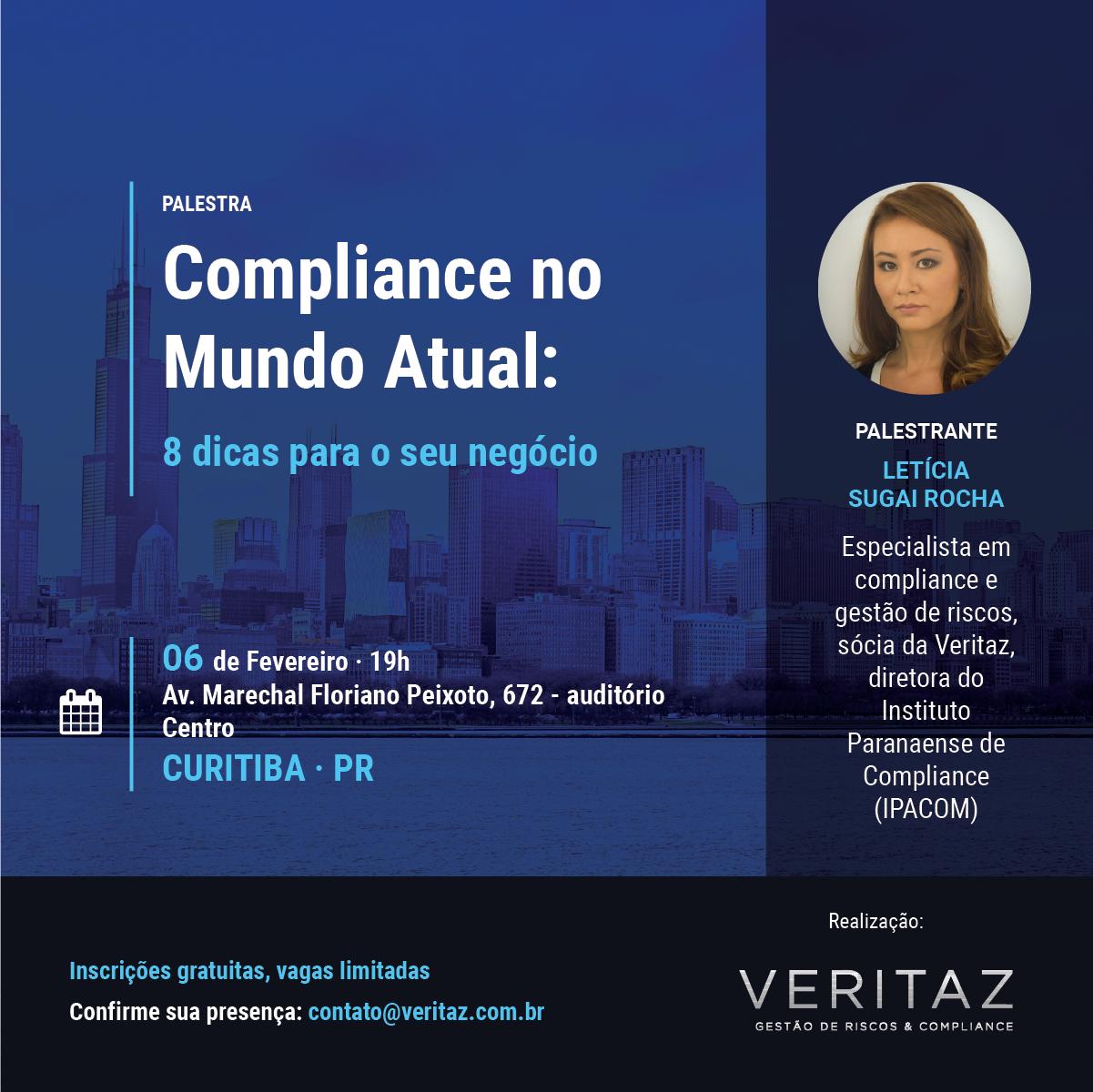 Convite para palestra de compliance da Letícia Sugai e Veritaz