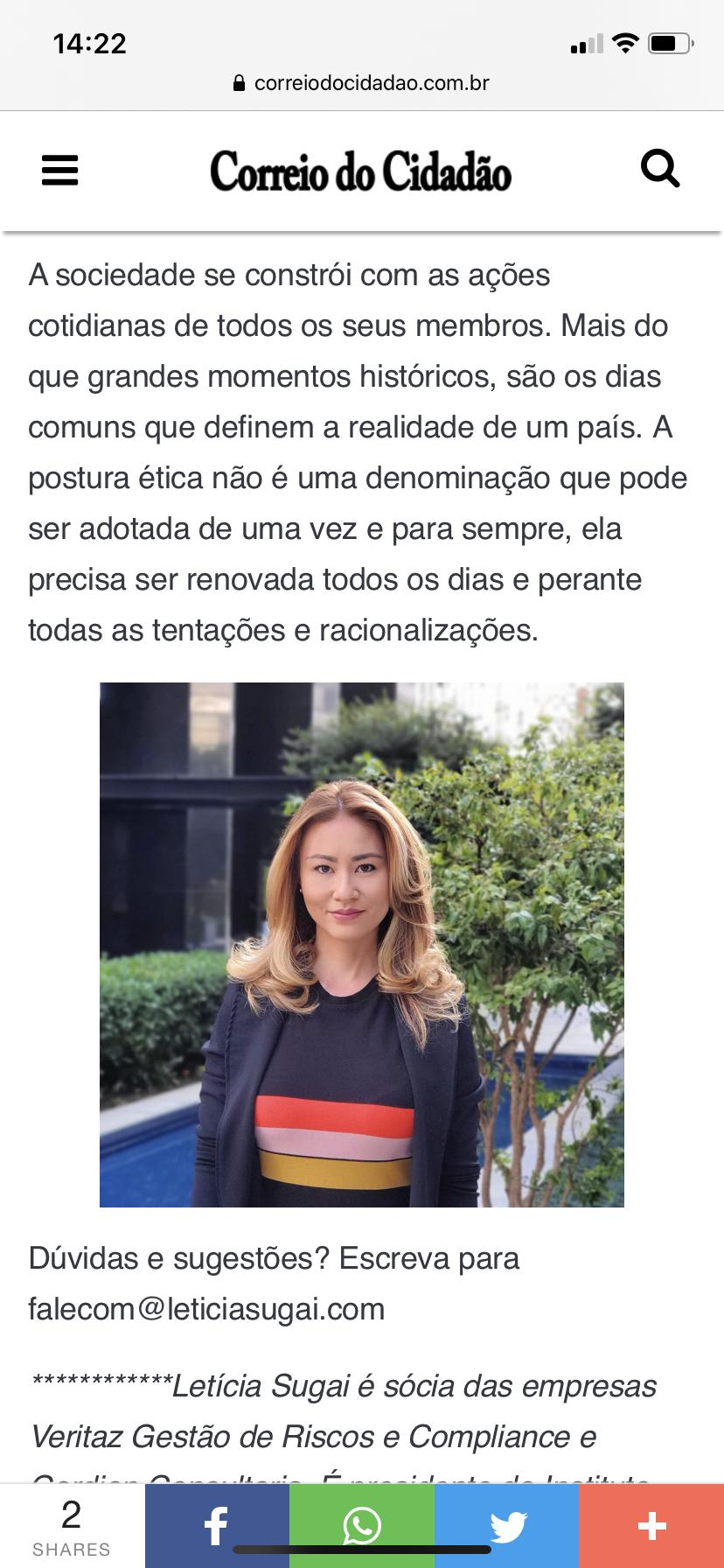 Letícia Sugai artigo Correio do Cidadão